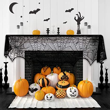halloween fireplace spiderweb