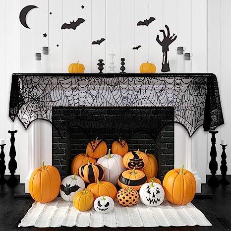 halloween fireplace spiderweb