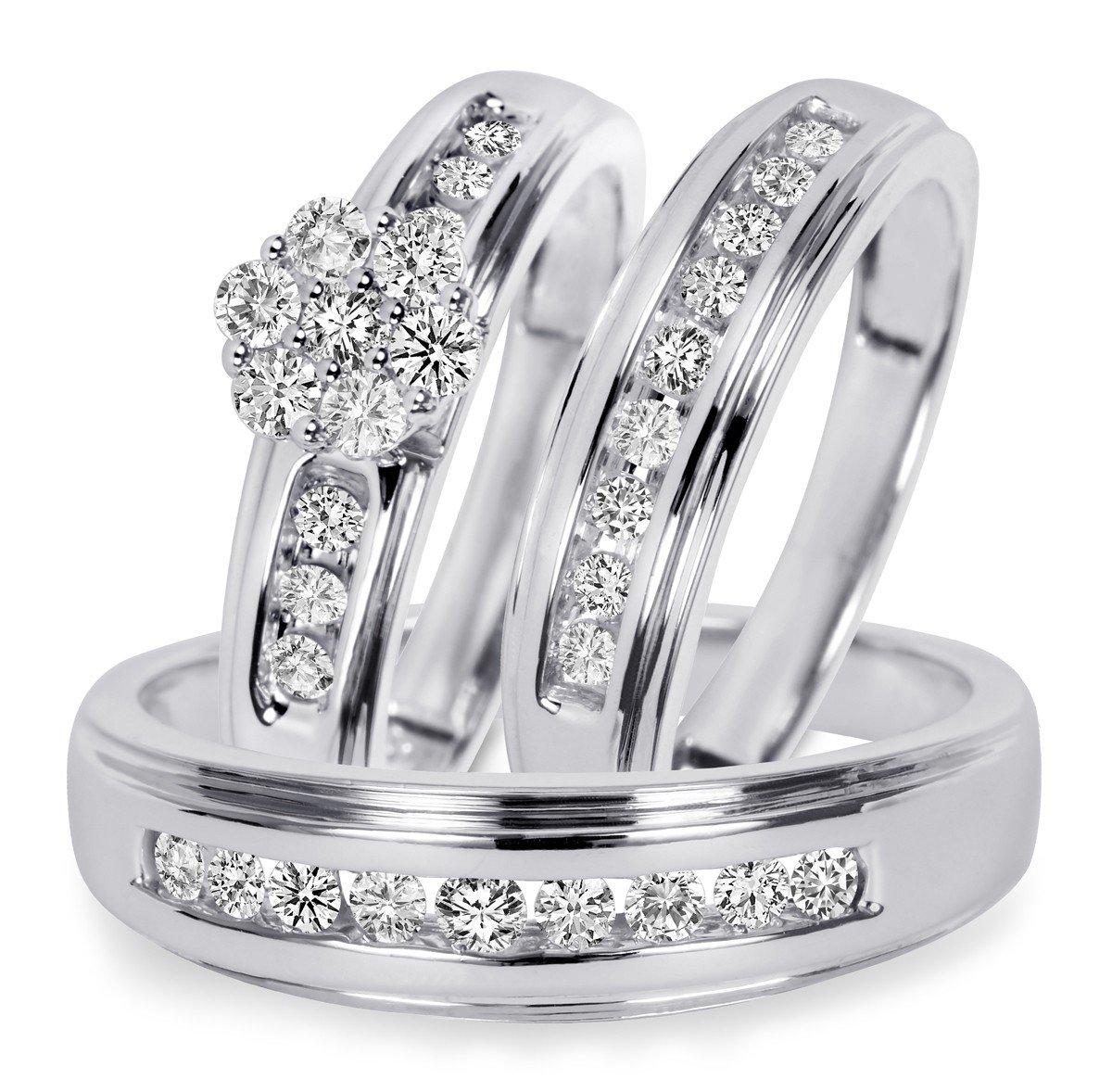 Silvernshine Jewels 3/4 Ct D/VVS1 Diamond Men's & Women's Engagement Ring Trio Set 14K White Gold Fn by Silvernshine Jewels