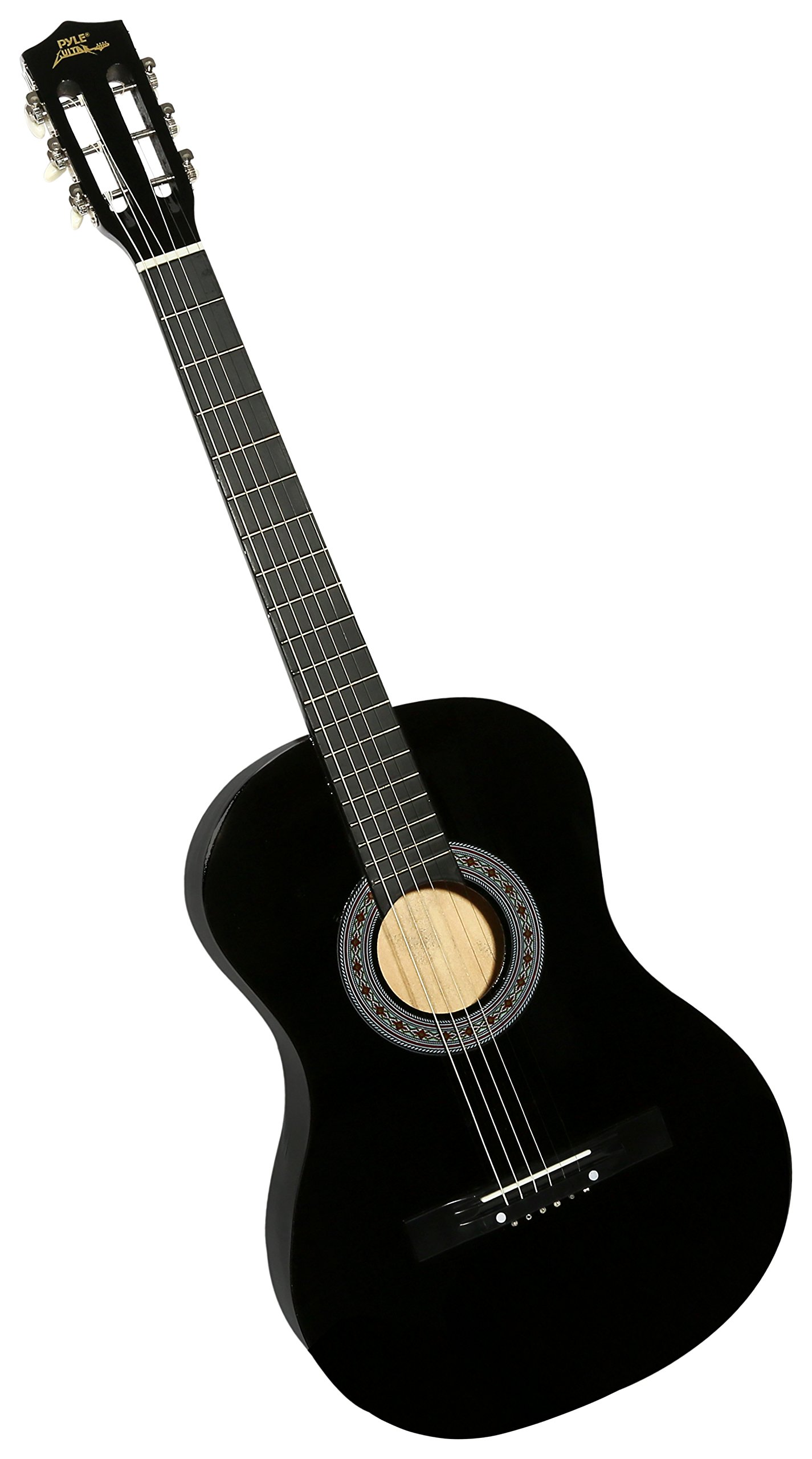 "Pyle 38"" Wooden Beginner Acoustic Guitar - Classical and Traditional Style w/ String Detachable Strap Pitch Pipe Tuner Pick and Travel Gig Bag Accessory Starter Kit Perfect for Children Size PGAKT0392"