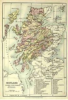 MAP ANTIQUE BACON SCOTLAND GLASGOW EDINBURGH LARGE REPLICA POSTER PRINT PAM0550