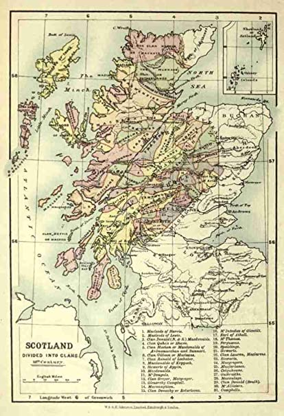 picture regarding Printable Map of Scotland titled A4 Image Map The Scottish Clans their Tartans nd Scotland