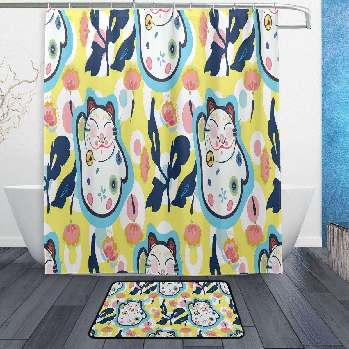 Details about  /Japanese Lucky Cat Shower Curtain Bathroom Decor Fabric /& 12hooks 71 Inch