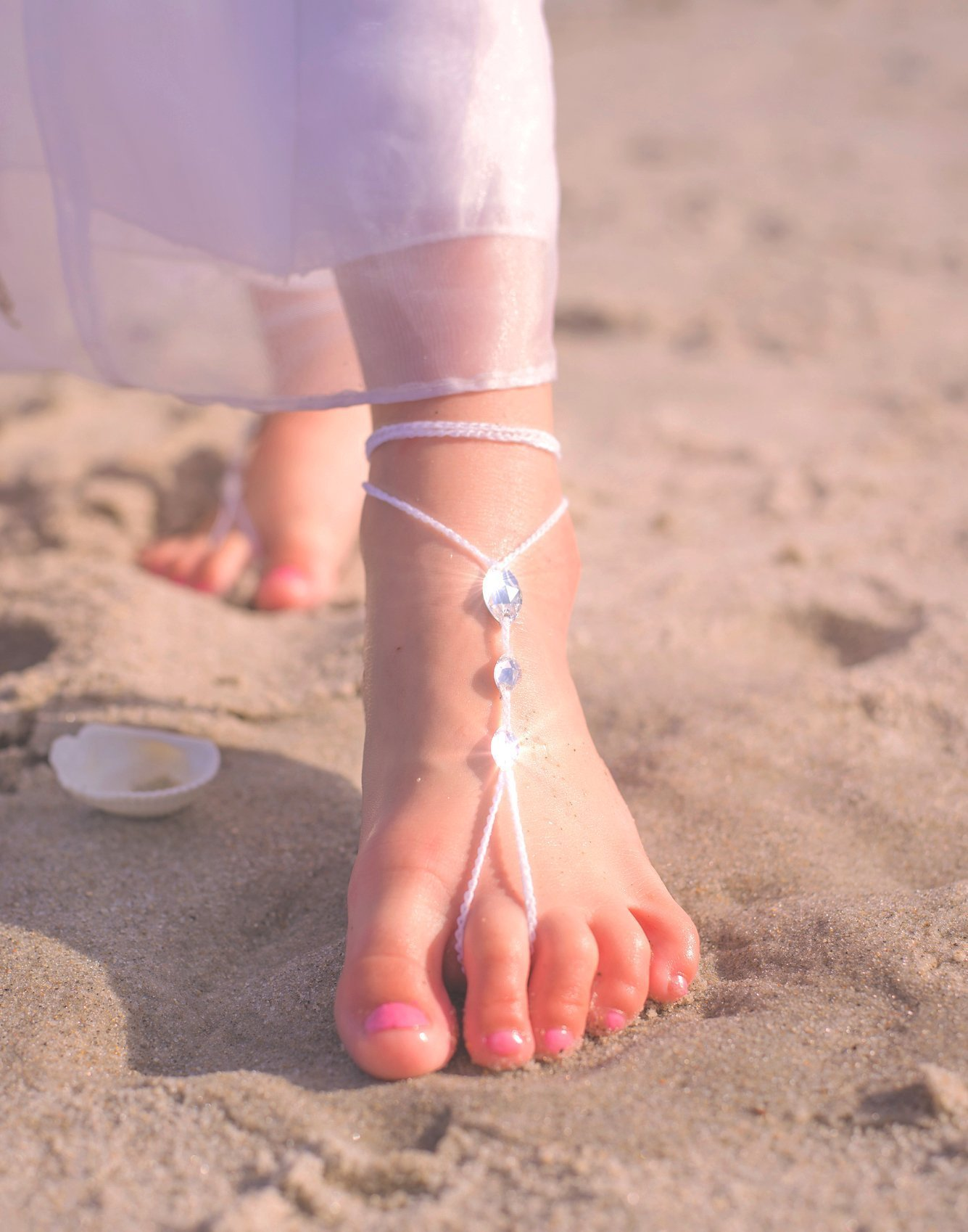 Simple Swarovski Barefoot Sandals, Girl's Foot Jewelry US feet size 11-2