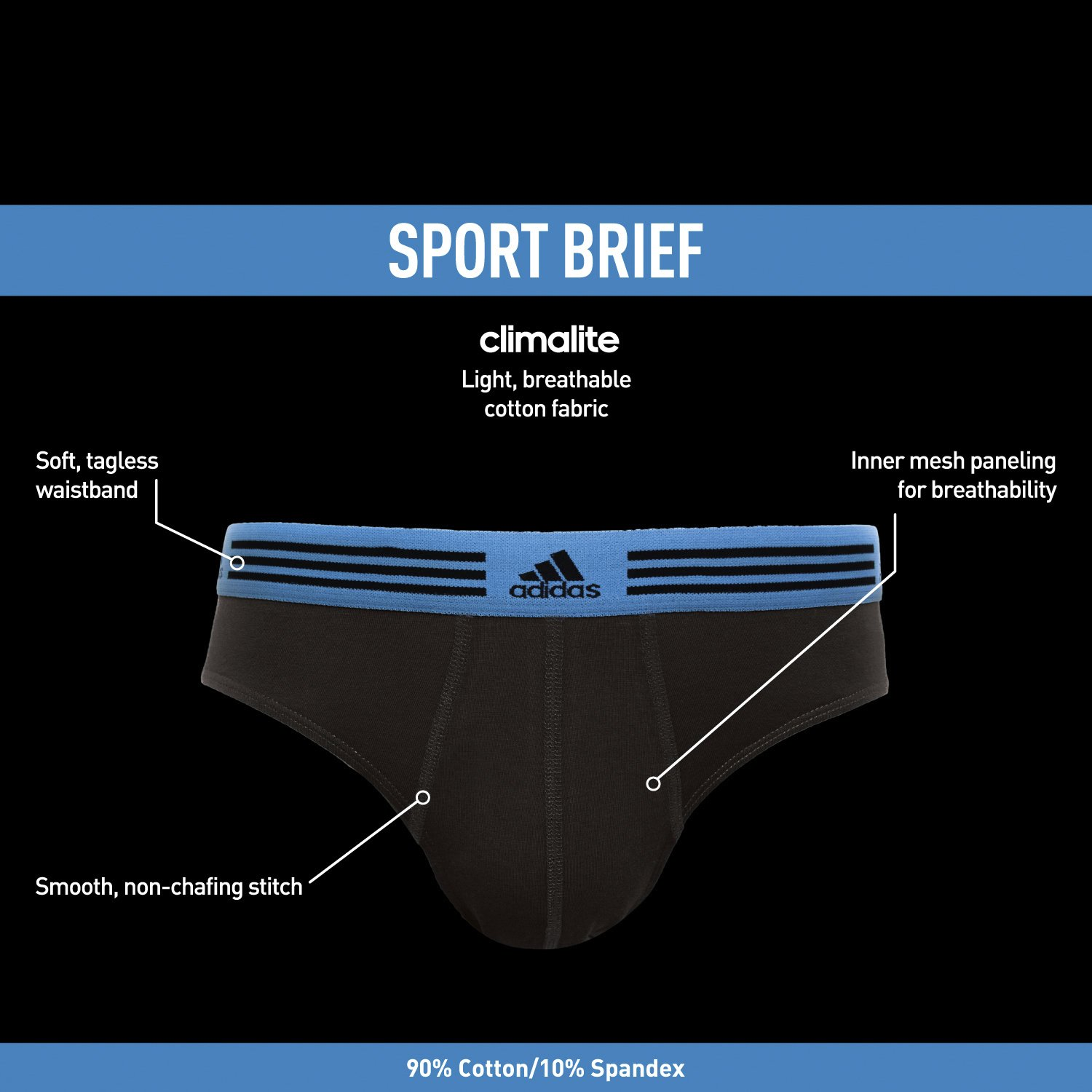 adidas Men's Athletic Stretch Brief Underwear (3-Pack) by adidas (Image #2)