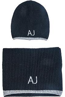 eec4be2d3315 ARMANI JEANS AJ NEU HERREN Mütze mit Schal blau schwarz grau men scarf  Halstuch Tuch Hut
