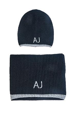 afc1aad8c4a90c ARMANI JEANS AJ NEU HERREN Mütze mit Schal blau schwarz grau men scarf  Halstuch Tuch Hut