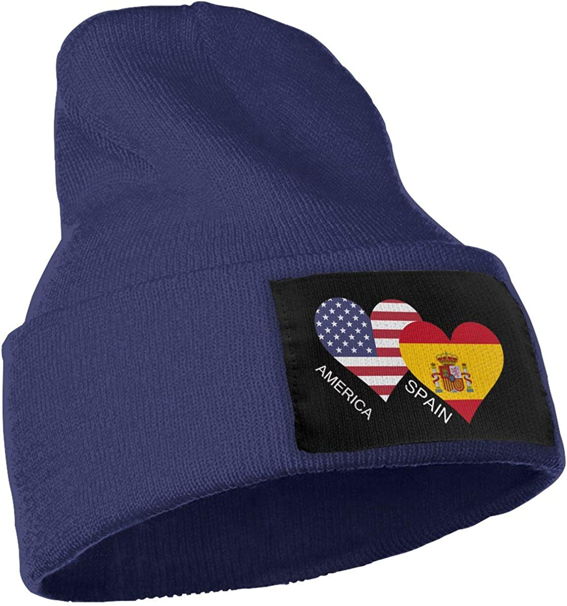 COLLJL-8 Men//Women America Spain Flag Heart Outdoor Stretch Knit Beanies Hat Soft Winter Knit Caps