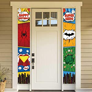 Allenjoy Superhero Happy Birthday Door Banner Super Hero City Party Decoration Hanging Wall Welcome Porch Sign Front Outdoor Indoor Polyester Decor 11.8x70.9 Inch Windproof Home Events Supplies 2PCS
