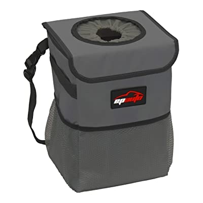 EPAuto Waterproof Car Trash Can with Lid and Storage Pockets, Dark Grey: Automotive