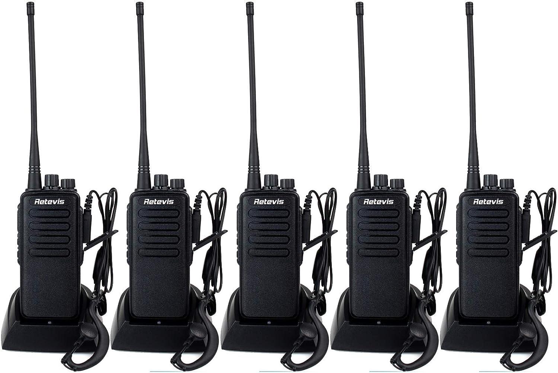 Retevis RT1 2 Way Radios Long Range 3000mAh UHF Radios VOX Professional High Power Walkie Talkies with Earpiece(5 Pack)