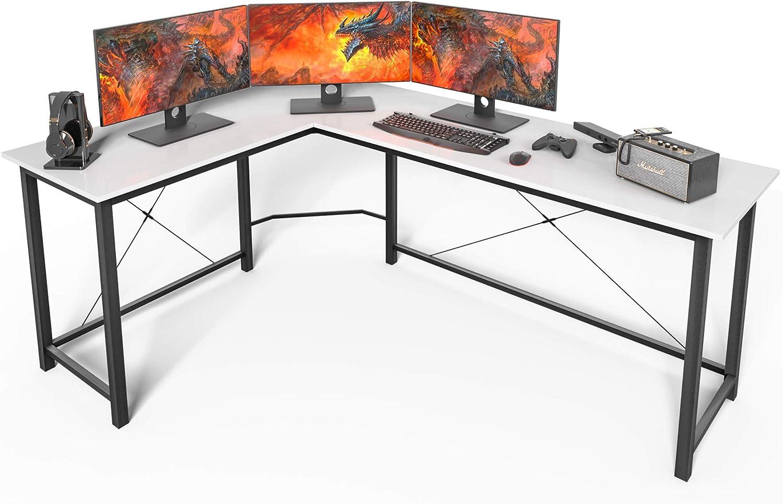 L Shaped Desk Corner Computer Desk Sturdy Computer Table Writing Desk Gaming Desk Workstation White Office Products Office Desks