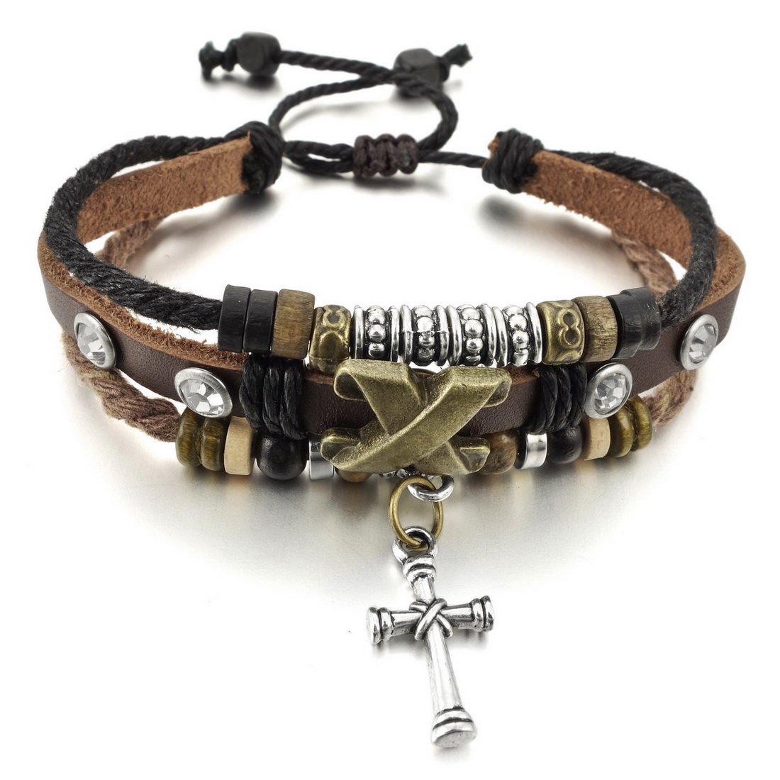 INBLUE Men,Women's Alloy Genuine Leather Bracelet Bangle Rope Cross Surfer Wrap Tribal Adjustable INBLUE Jewelry mnb0515