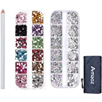 Amaoz Rhinestone Jewel Pickup Tool,Dual-ended Picker Dotting Pen Crystal Studs Wax Pen, Flat Back Gems Round Rhinestones for Nails Decoration Crafts Eye Makeup Clothes Shoes︱Mix SS4 6 10 12 16︱3500PCS