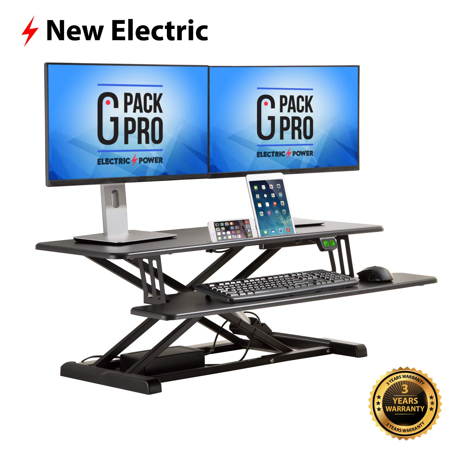 G Pack Pro - Standing Desk Converter | Electric Height Adjustable Stand Up Desk | Fits Dual Monitor | Removable Keyword Tray | Designed for Multipurpose Work | Black Color by G-PACK PRO