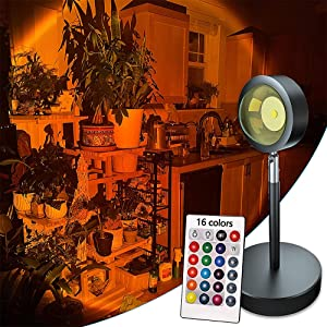 16 Colors Sunset Lamp, Projector Rainbow Light 180 Degree Rotation Projection Led Night Light for Photography/Selfie/Home/Living Room/Bedroom Decor, USB Charging