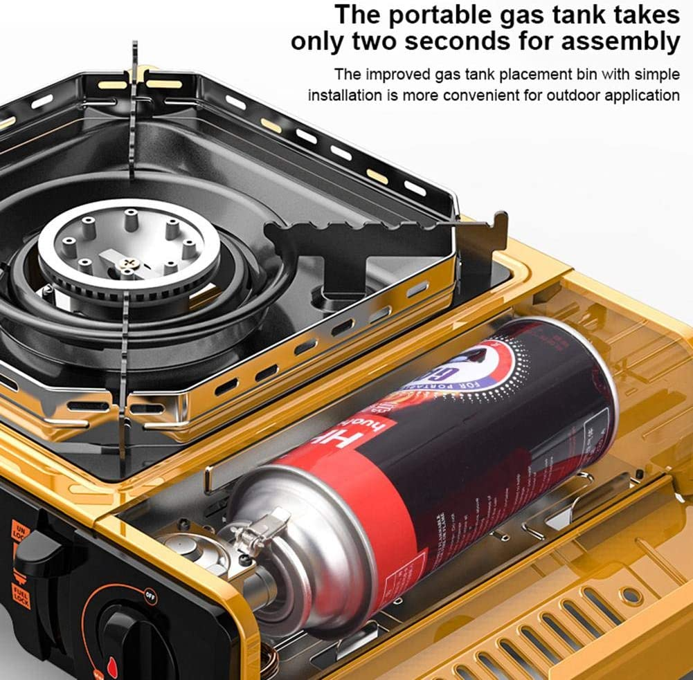 MRlegendary Portable Gas Stove,1 Flame Portable Gas Cartridge Cooker Burner Wok Stainless Steel 2.9kW Camping Stove,Ceramic Gas Furnace Portable Gas Burner For Outdoor Indoor Cooking