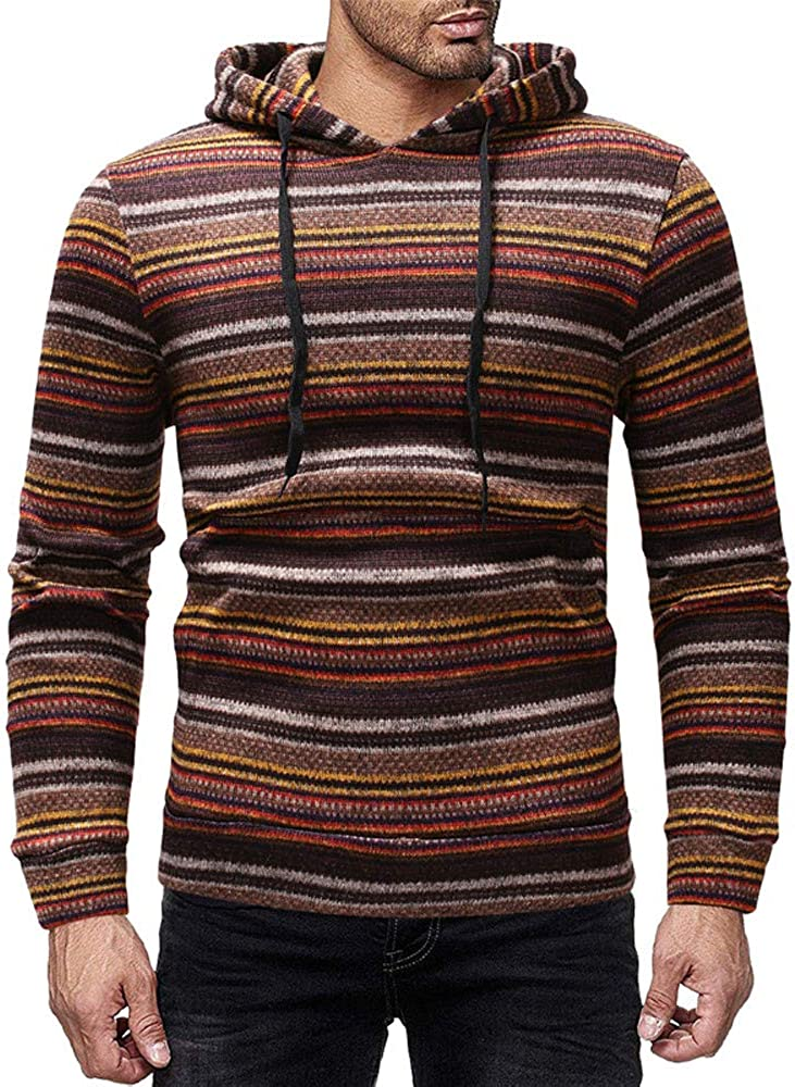 Colorful Stripe Drawstring Long Sleeve Kangaroo Pocket Pullover Sweatshirt Men s Stylish Vintage Hoodie