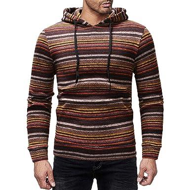 MEIbax Sudaderas con capucha para Hombre Hombres Casual Color Block Stripe Otoño Invierno Pullover Top Blusa Sudadera: Amazon.es: Ropa y accesorios