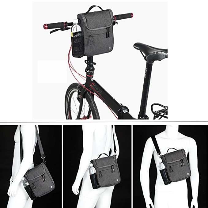 c1a8fe65bbdb RAYSUN Bicycle Handlebar Bag with Waterproof Cover - Messenger Bag with  Handle Fits 10
