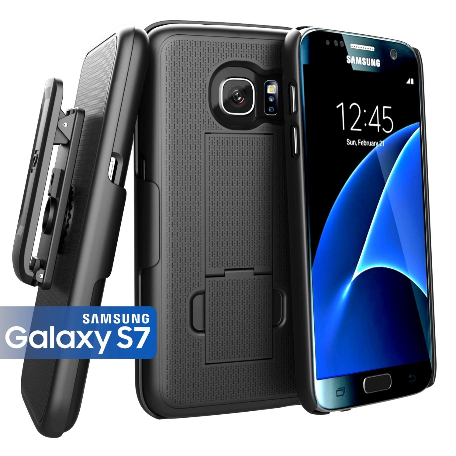 Encased (Ultra-Slim) Belt Clip Holster Case for Samsung Galaxy S7 - Smooth Black