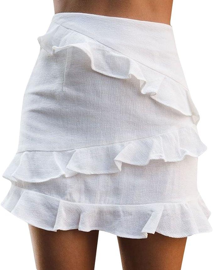 beautyjourney Mini Falda con Volantes Elegante para Mujer Falda de ...