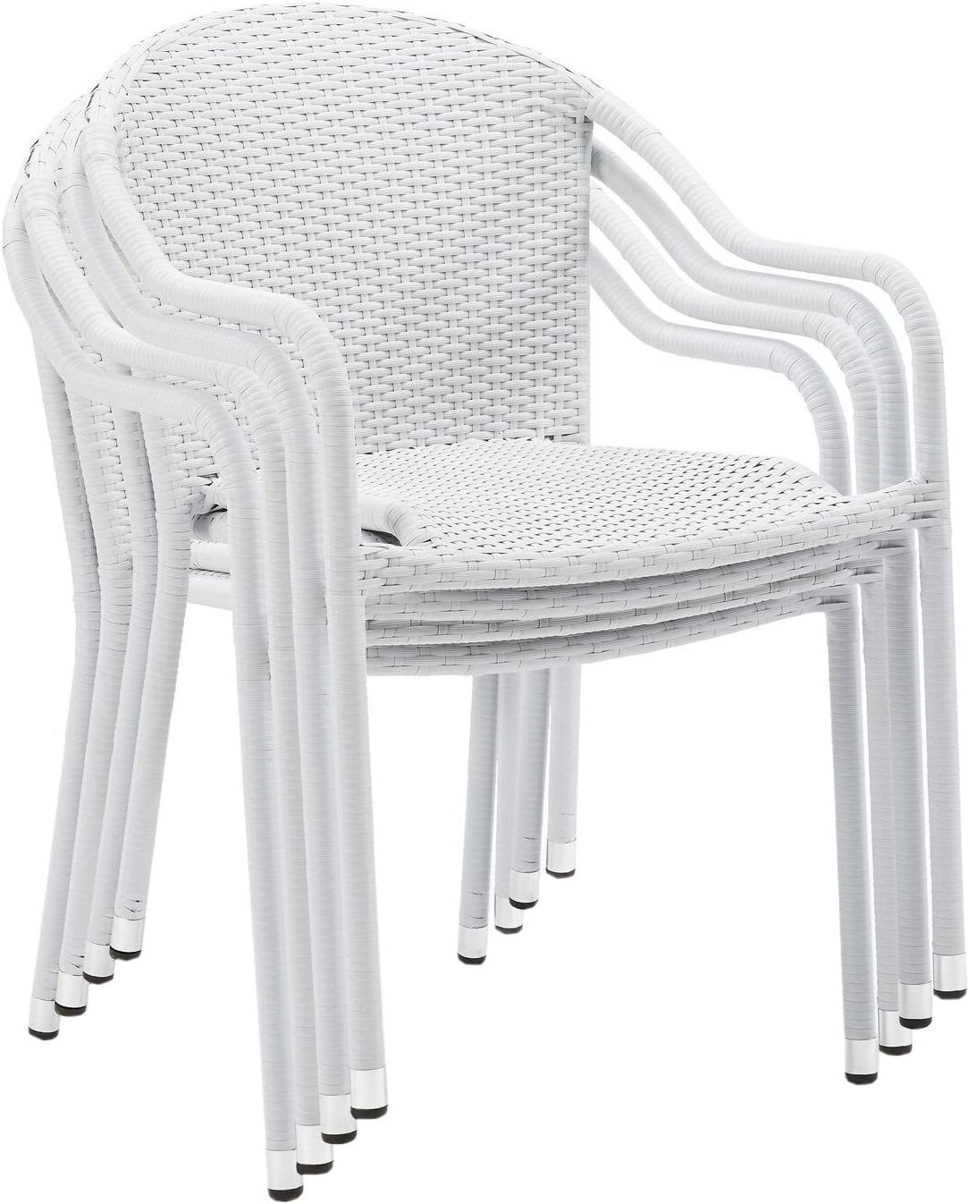 Crosley Furniture CO7109-RE Palm Harbor Outdoor Wicker Stackable Chairs, Set of 4, Red