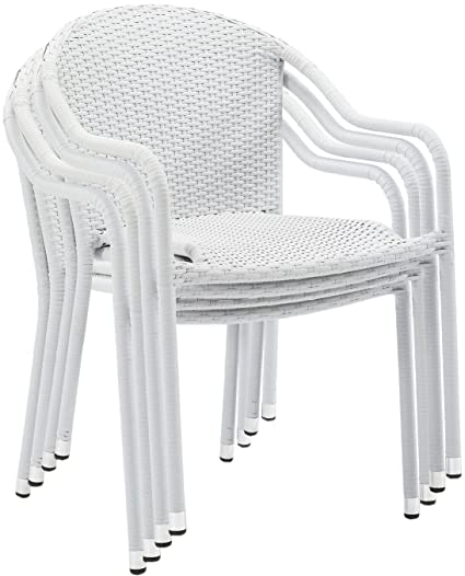 Crosley Furniture Palm Harbor Outdoor Wicker Stackable Chairs   White (Set  Of 4)