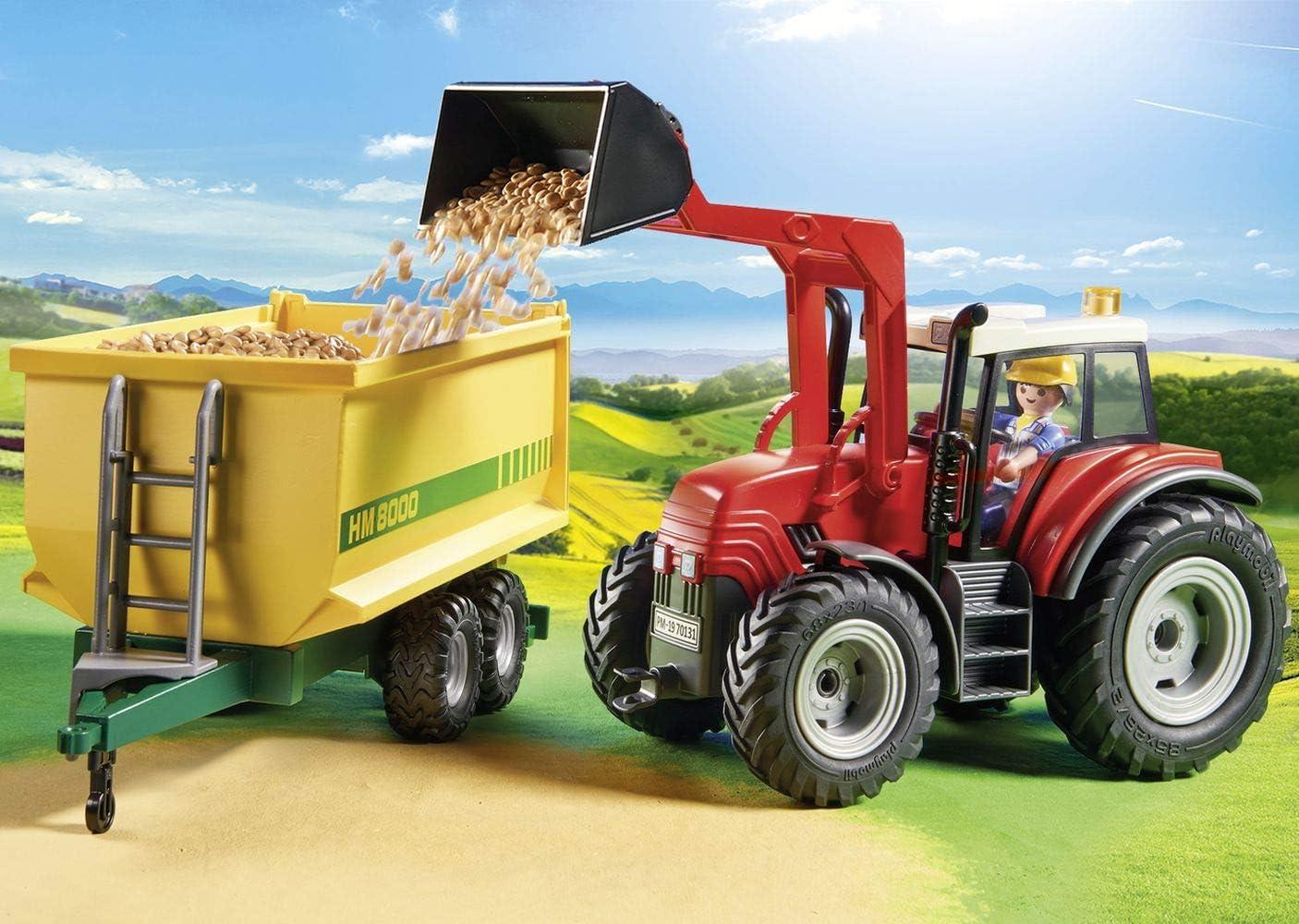 Deao 31 Pièce Portable ferme Play Set avec Ferme Tracteur Remorque Camions,