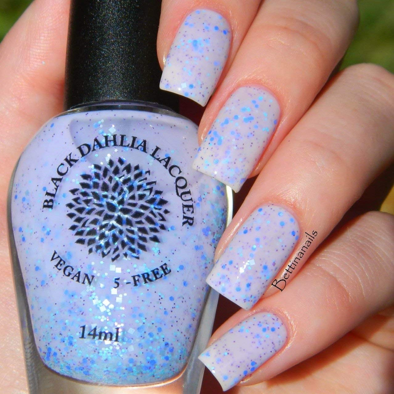 Speckled Lilac | Pale Purple Crelly Nail Polish with Lilac, Aqua and Mint Glitter | by Black Dahlia Lacquer