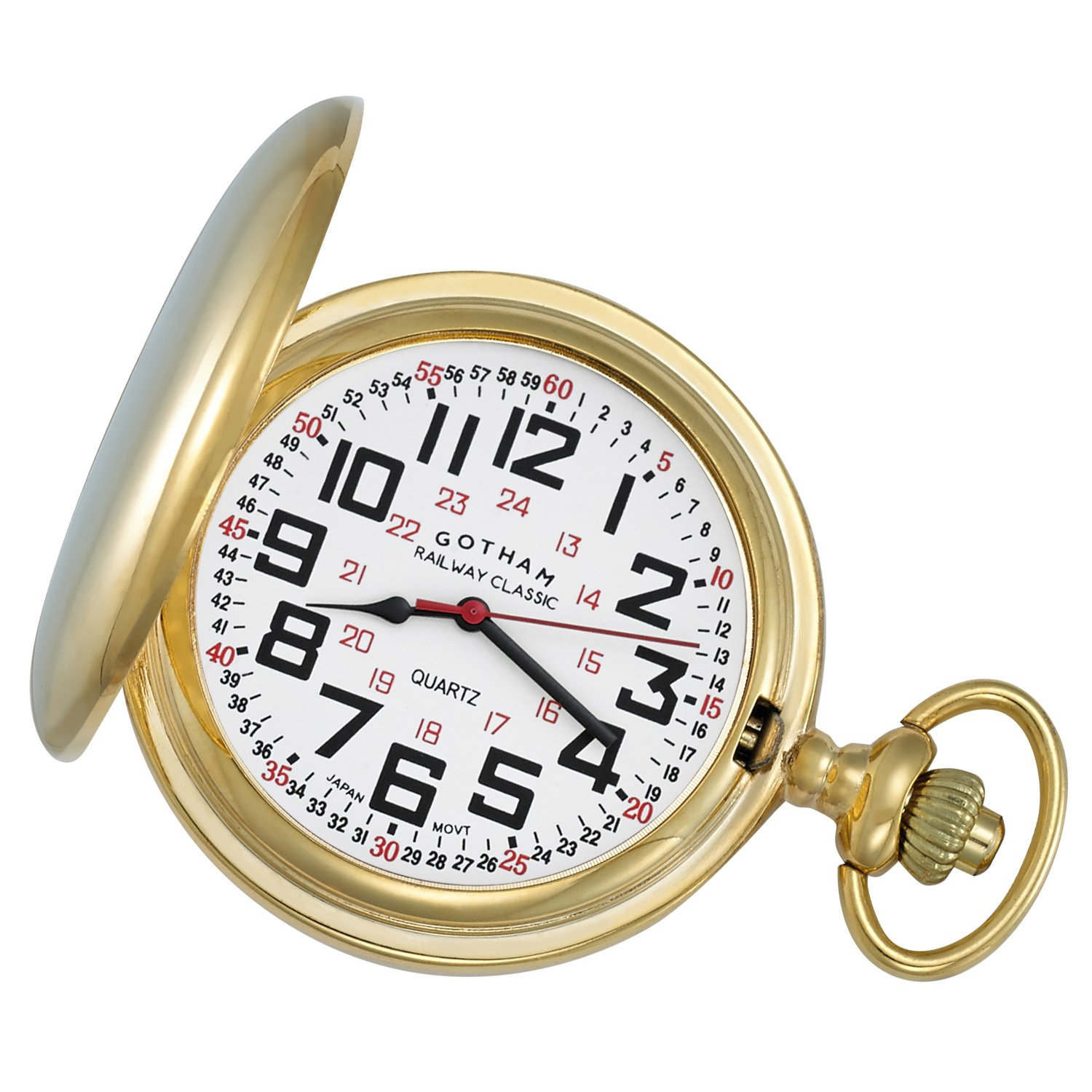 Gotham Men's Gold-Tone Railroad Polished Finish Covered Quartz Pocket Watch # GWC15044G