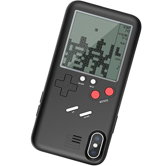best service 088fc 54c56 Vorson Tetris Game-Boy Game Case for iPhone X Shell TPU Silicone Protective  Cover Retro Gameboy iPhone Case (Black for iX)(WANLE - Play and Have Fun)