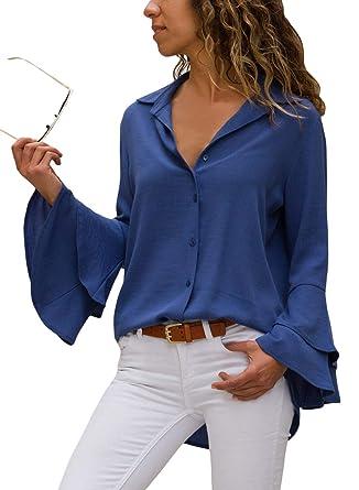 508d4b798b0a Happy Sailed Damen Trompetenärmel Elegant Causaul Chiffon Bluse Hemd  Oberteil S-XXL, Blau,