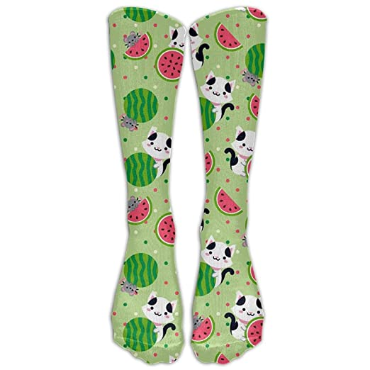 7ebd3d95e2c Image Unavailable. Image not available for. Color  Cat And Mouse Watermelon  Unisex Knee High Socks Fashion ...