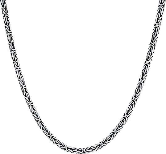 """16/""""L 925 Sterling Silver Necklace 1.7mm Bead with Curb Link Chain Necklace S925"""