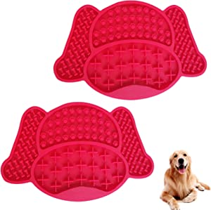 Silicone Dog Lick Mats 2Pack,Cartoon Pet Slow Feeding Mats, Peanut Butter Treat Pads with Strong Suctions to Wall, Dog Bath Distraction Device, Pet Grooming Dog Slow Feed Training Dog Bathing Supplies