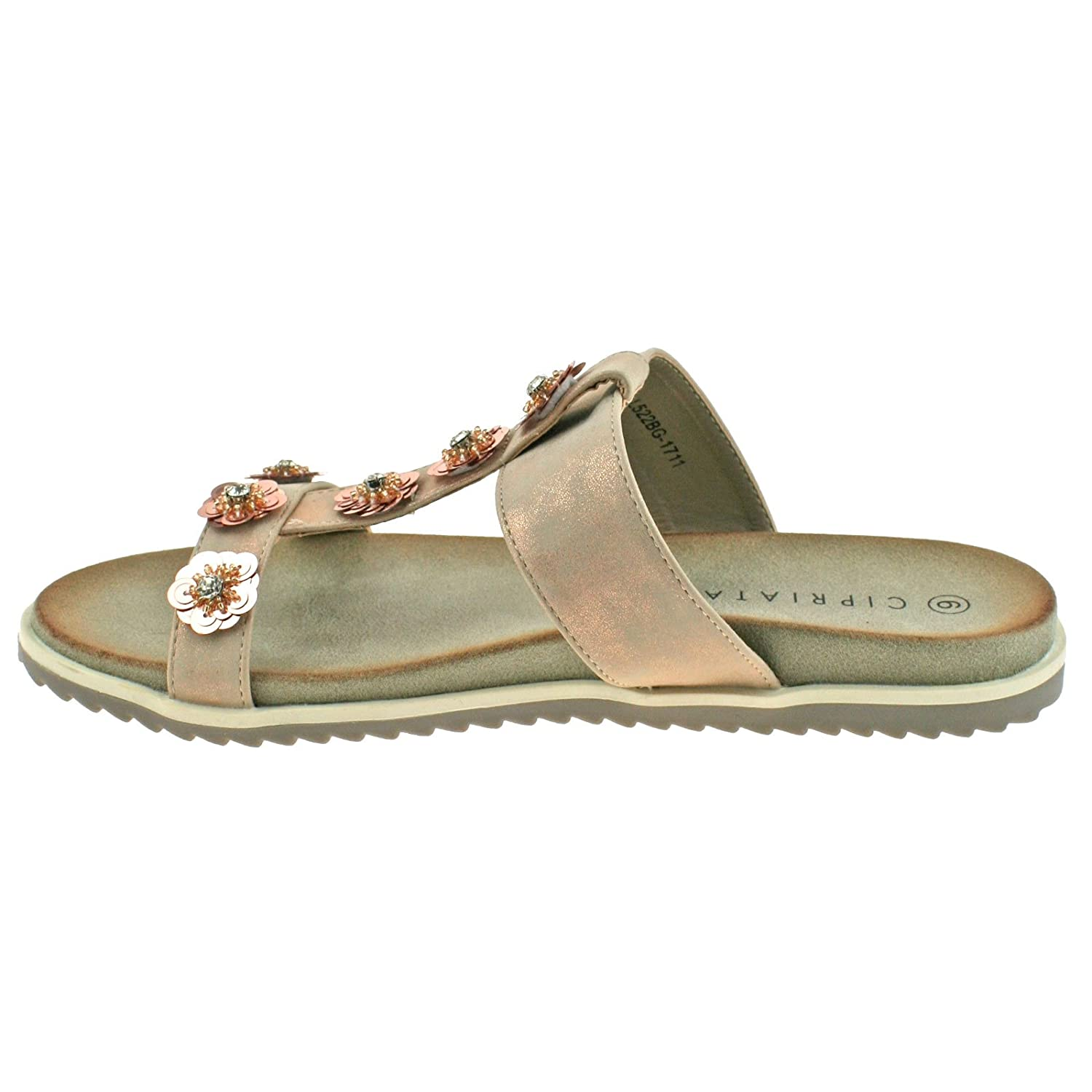 Cipriata Ladies Light Gold Pewter Shimmer Diamante Flower Mule Sandals L522 KD-Pewter-UK 8 (EU 41) OhKjcc60E0