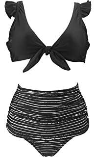 51d4daee10 COCOSHIP Women's Retro Floral High Waisted Shirred Bikini Set Tie Front  Closure Top Ruffle Swimsuit(