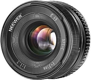 Neewer 35mm F1,2 Apertura Grande Prime APS-C Lente de Aluminio para Sony E Mount Mirrorless Cámaras A6500 A6300 A6100 A6000 A5100 A5000 A9 NEX 3 NEX 3N NEX 5 NEX 5T NEX 5R NEX 6 7