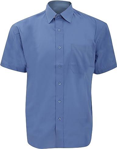 Russell Collection - Camisa de Manga Corta de popelina Cuidado Facil Modelo Poplin Hombre Caballero - Trabajo/Boda/Fiesta: Amazon.es: Ropa y accesorios