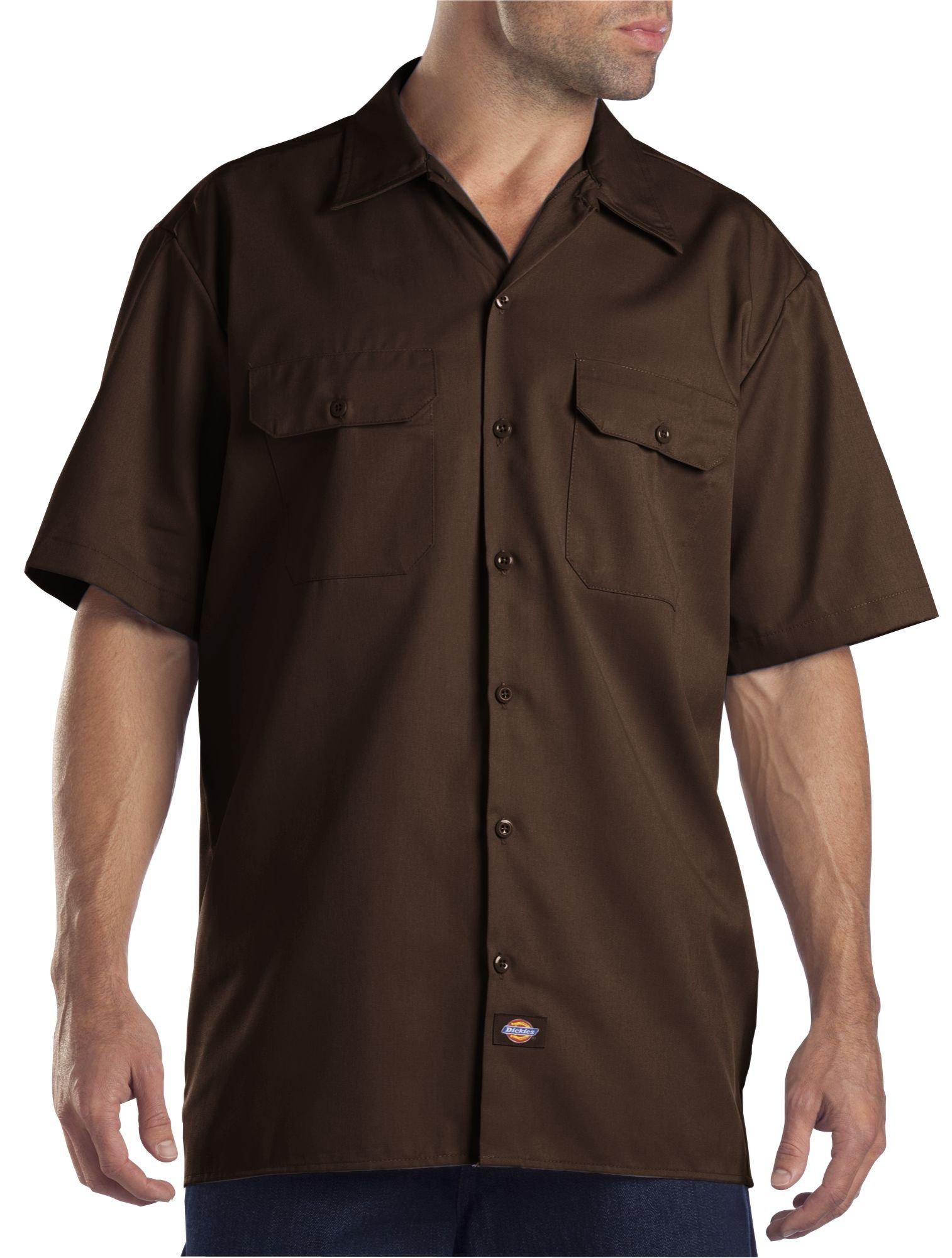 Dickies Men's Big and Tall Short Sleeve Work Shirt, Dark Brown, Extra Large