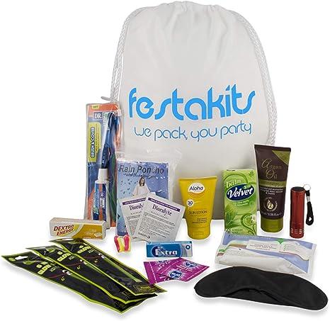 Festakits Essentials – Kit de Supervivencia de 60 Piezas para Festivales, Kit de Supervivencia para Acampar – Todos Sus Esenciales para Festivales: Amazon.es: Deportes y aire libre