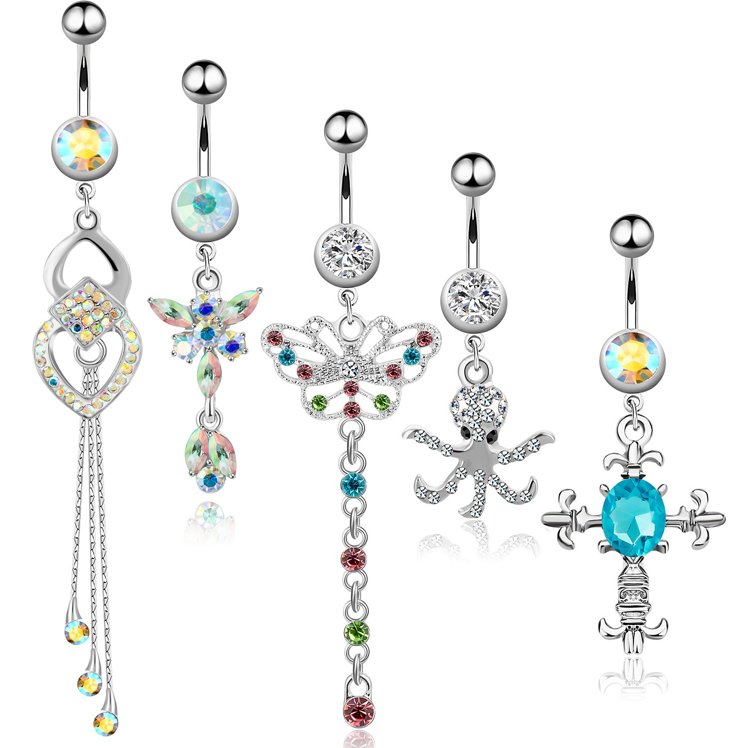 5Pcs Dangle Belly Button Rings Set Navel Surgical Stainless Steel 14G Body Piercing Jewelry CABBE KALLO