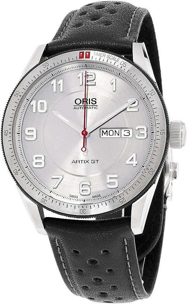 Oris Artix GT día Fecha Plata Dial Negro Cuero Mens Reloj 0173576624461–0752187Fc