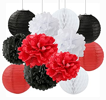 Amazon ladybug birthday party decoration black white red tissue ladybug birthday party decoration black white red tissue paper pom pom paper flower ball decoration paper mightylinksfo