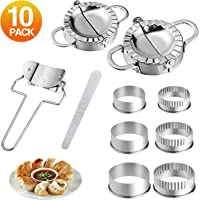 10 Pieces Stainless Steel Dumplings Maker Set,Dumpling Press molds Skin Maker Stuffing Spoon Flour Ring Cutter,Chinese Dumpling Pie Ravioli Empanadas Press Mold Kitchen Accessories