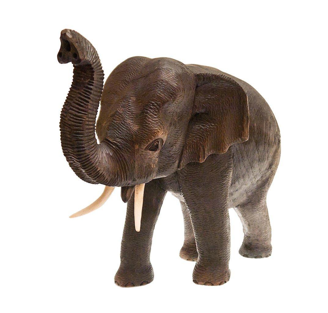 Elefant, stehend, Rüssel erhoben, Teak-Holz