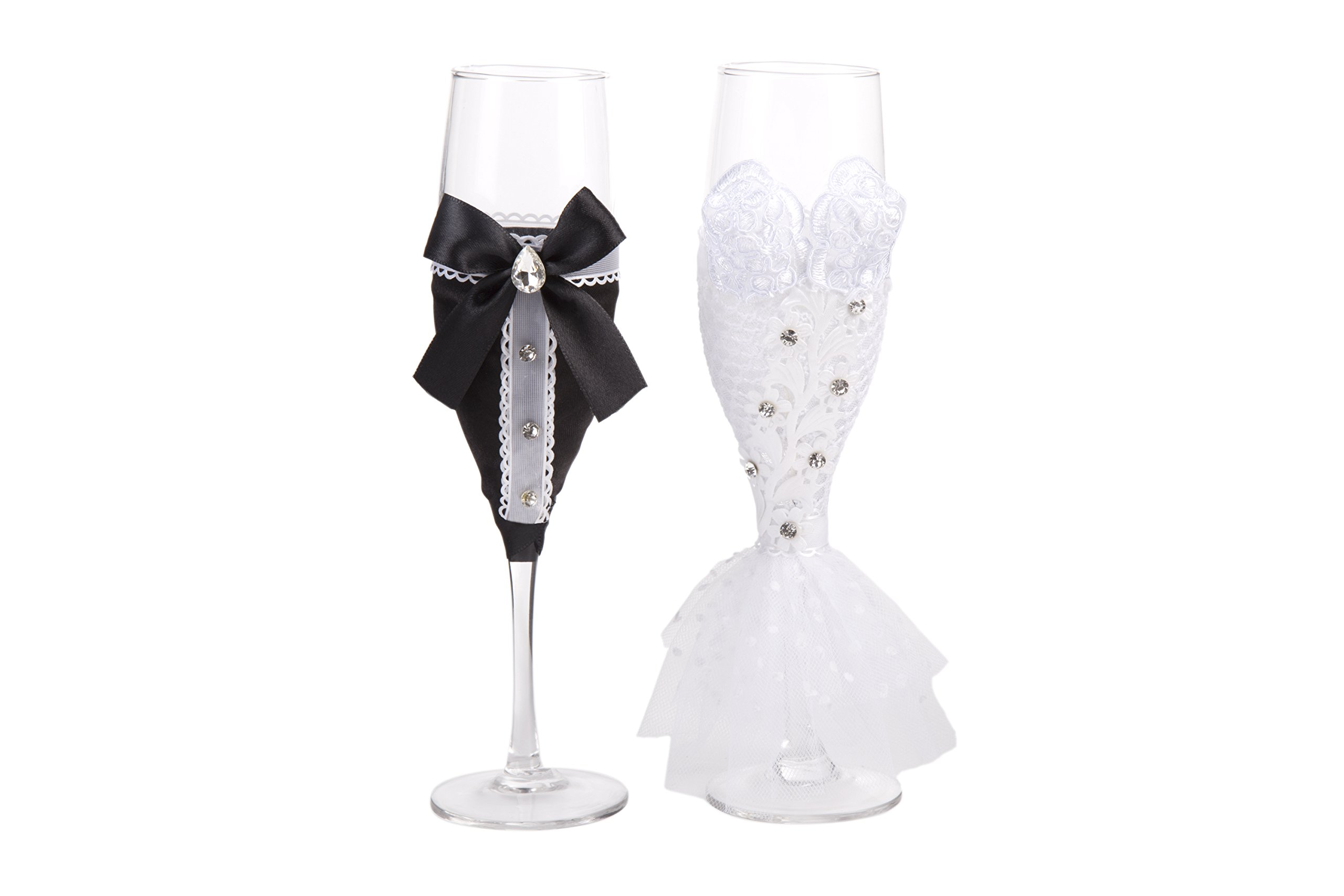 Personalized Wedding Dress Wine Glasses-ULA Handmade Bride and Groom ...