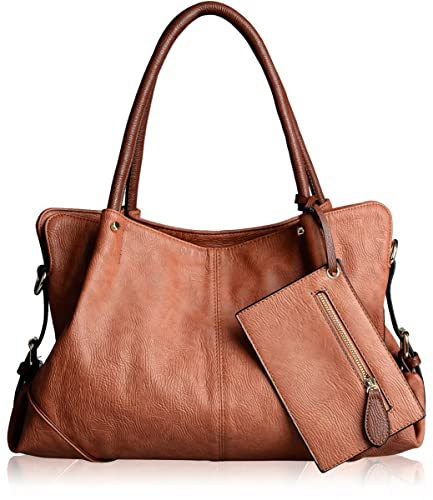 AB Earth PU Leather Women Tote Top Handle Shoulder Handbags Crossbody Bag, M898 (Brown)