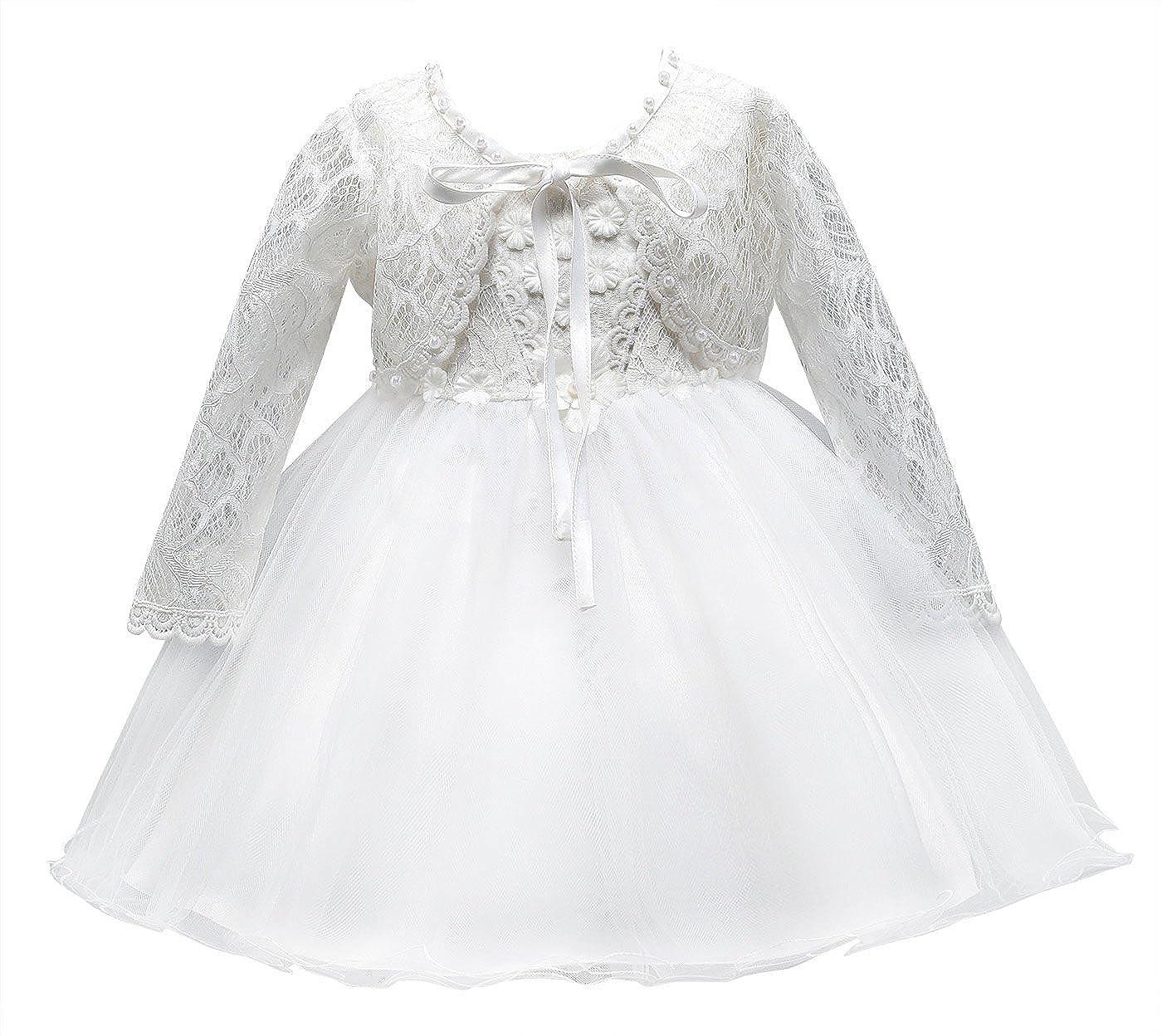 Happy cherry Niñas-Bebés Vestido Princesa de Enacje Traje de Ceremonia Dress Tul de Boda Bautizo Tutu Lazo Elegante Algodón Blanco